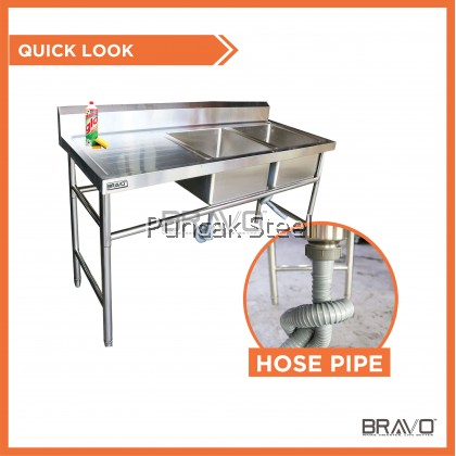 BRAVO [6 Feet Double Right Sink Bowl PSS-DBS-72R] Stainless Steel High Quality Sturdy Heavy Duty DIY Commercial Factory Canteen Cafeteria Restaurant Kitchen Home Free Standing Back Splash Double Bowl Sink With Table[PROVIDE HOLE DRILLING SERVICE]