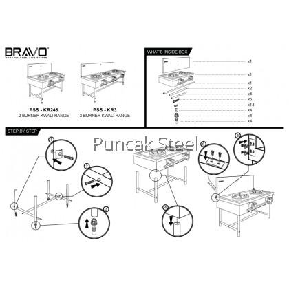 Stainless Steel 2 Burner Kwali Range Dim: 45X26 Dapur 2 Tungku Stove Range