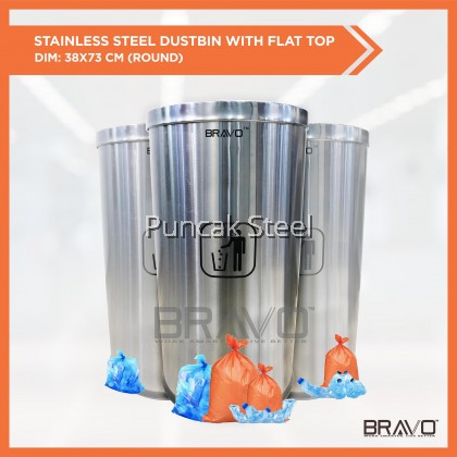 BRAVO *BIG FLAT TOP * Stainless Steel Quality Shiny Elegant Modern Commercial Office Hotel Airport Mall Restaurant Cafe Food Court Light Easy Cleaning Inner Basket Dustbin Rubbish Garbage Bin With Flip-Top Cover