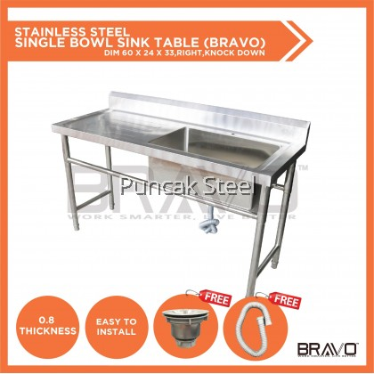 BRAVO [5x2 Feet Single Right Sink Bowl PSS-SBS-60R] Stainless Steel High Quality Sturdy Heavy Duty DIY Commercial Factory Canteen Cafeteria Restaurant Kitchen Home Free Standing Back Splash Single Bowl Sink With Table[PROVIDE HOLE DRILLING SERVICE]