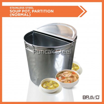 Stainless Steel Big Stock Pot/ Commercial Soup Pot with Inner Partition (Can put 2 different taste of soup) for Hawker/ Restaurant/ Chicken rice Stall/Kedai Kopi Traditional/ Masak Air Panas