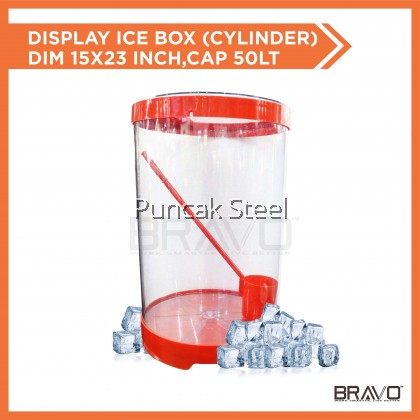 Water Container /Beverage Container/ Display Ice Box (Cylinder) *Round With Cap: 50L Dim: 15x23inch come with 1pcs Water Ladle Use to sell soya milk/air tebu/sugarcane drink/street food/air syrup/pasar malam