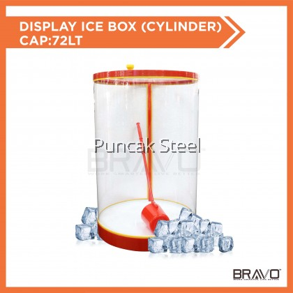Water Container /Beverage Container/ Display Ice Box (Cylinder) *Round With Cap: 72L come with 1pcs Water Ladle Use to sell soya milk/air tebu/sugarcane drink/street food/air syrup/pasar malam