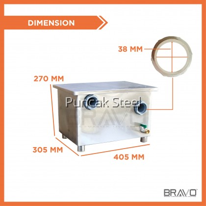 [Ready Stock] BRAVO 27L 410x310x270 MM Stainless Steel Commercial Heavy Duty Industry Home use Quality Thick Grease Trap Interceptor For Bowl Sink Oil Filter Separator [Same Working Day Delivery +FREE Accessories] Perangkap Minyak Penapis Minyak