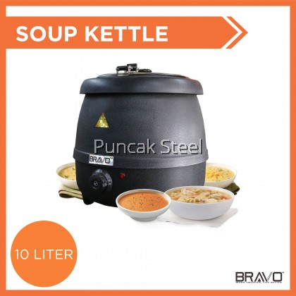 BRAVO Big Size 10 Liter High Quality Commercial Heavy Duty Home Event Hotel Buffet Restaurant Cafe Electric Soup Dessert Kettle Warmer Bowl Removable Easy Cleaning Stainless Steel Soup Container Cerek Sup Warmer Kettle [SAME DAY DELIVERY]