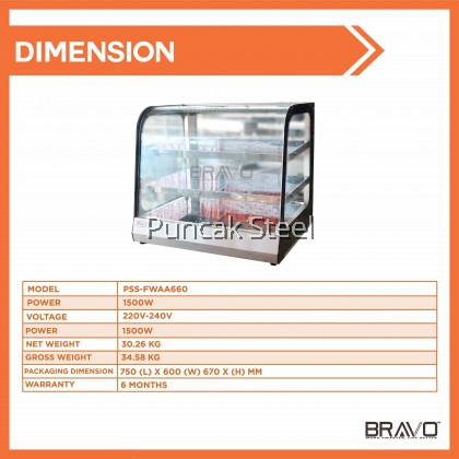Bravo Commercial Stainless Steel Food Warmer Display Case for Pastry, Pizza, Fried Chicken, Takoyaki, Snack Food Warmer Fresh Black