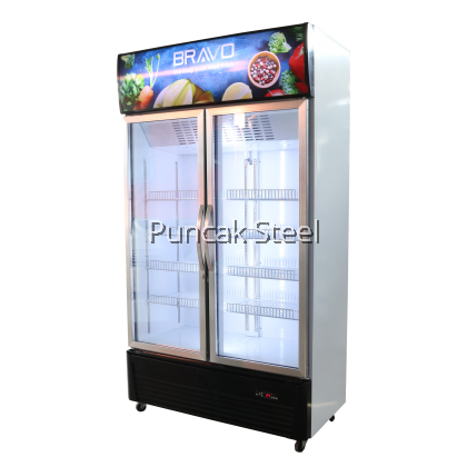 Bravo 2 Door Display Chiller Capacity 688L, Blower System and Heated Glass